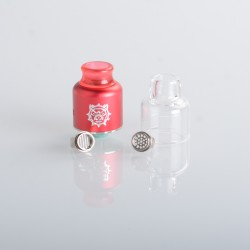Authentic Damn Vape Mongrel RDA Rebuildable Dripping Vape Atomizer - Red, 25.4mm / 26mm, with Spare Top Cap, Subway Edition