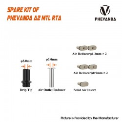 Authentic Phevanda A2 RTA MTL Air Set - 510 Drip Tip / Air Outer Reducer / 2 x 1.2mm / 2 x 0.9mm Air Reducer / Solid Air Insert