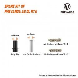 Authentic Phevanda A2 RTA DL Air Set - 510 Drip Tip / Air Outer Reducer / 2 x 1.2mm / 2 x 0.9mm Air Reducer