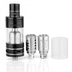 Authentic SmokTech TFV4 Sub Ohm Tank Atomizer Full Kit - Black, Stainless Steel + Glass, 5mL, 24.5 Diameter
