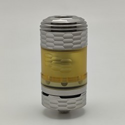 Coppervape Hussar The End Style RTA Rebuildable Tank Vape Atomizer -Silver Satined, 316SS + PEI, 3.0ml, 22mm Diameter
