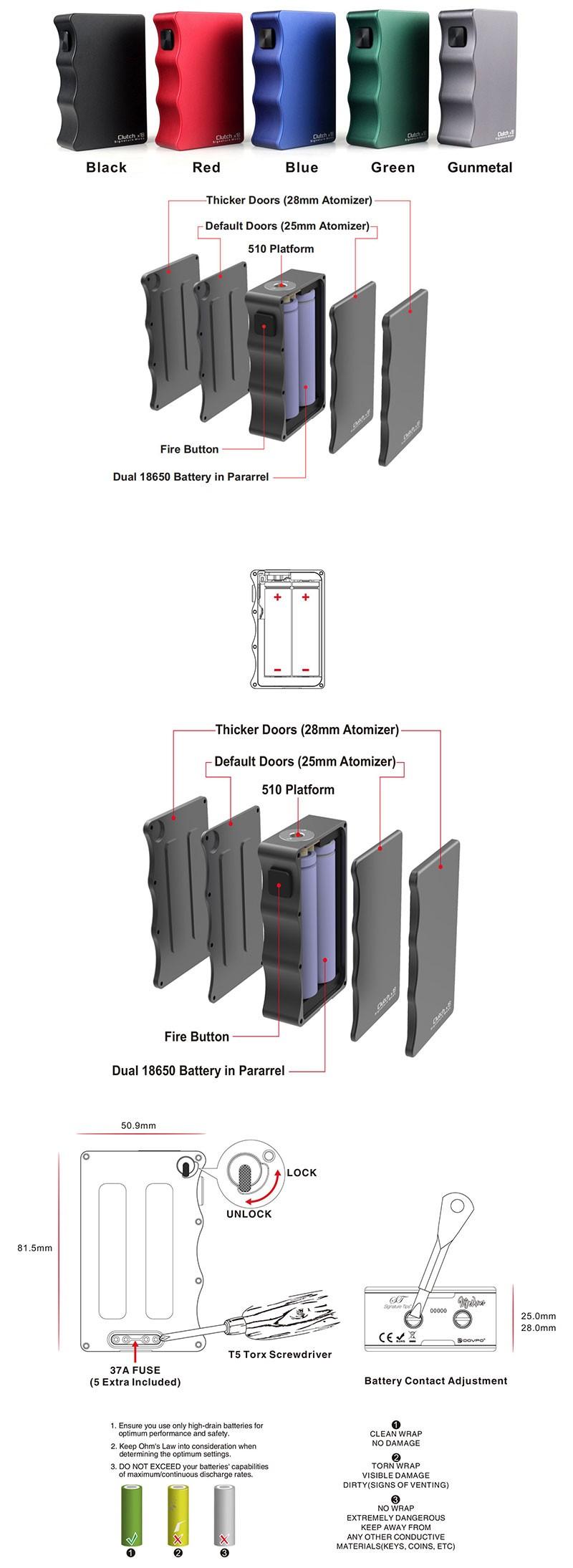 Mike Vapes & DOVPO & Signature Mods Clutch X18 Mechanical Vape Box Mod