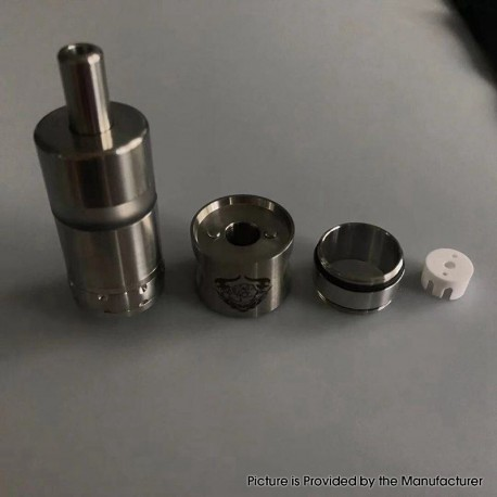 5AVape Rose V2S Style RTA Rebuildable Tank Atomizer - Silver, 316 Stainless Steel, 22mm Diameter