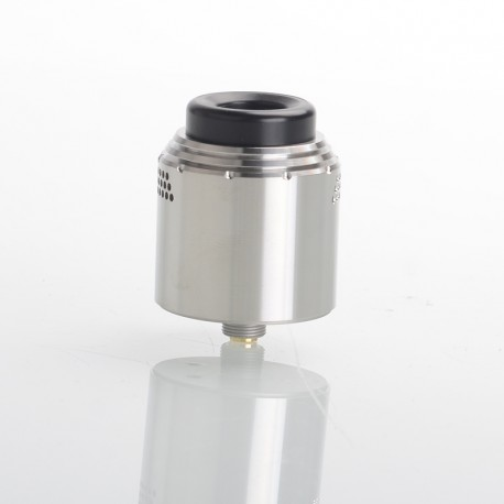 Temple Style RDA Rebuildable Dripping Vape Atomizer - Silver, Stainless Steel, 28mm Diameter, with Acrylic Cap + BF Pin