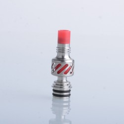 Authentic Auguse Seaman 510 Drip Tip for RDA / RTA / RDTA Vape Atomizer - Silver + Red, Stainless Steel + Delin