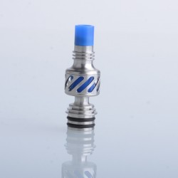 Authentic Auguse Seaman 510 Drip Tip for RDA / RTA / RDTA Vape Atomizer - Silver + Blue, Stainless Steel + Delin