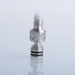 Authentic Auguse Seaman 510 Drip Tip for RDA / RTA / RDTA Vape Atomizer - Silver + White, Stainless Steel + Delin