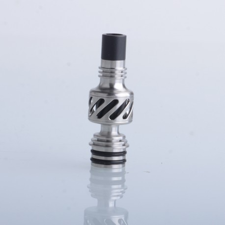 Authentic Auguse Seaman 510 Drip Tip for RDA / RTA / RDTA Vape Atomizer - Silver + Black, Stainless Steel + Delin