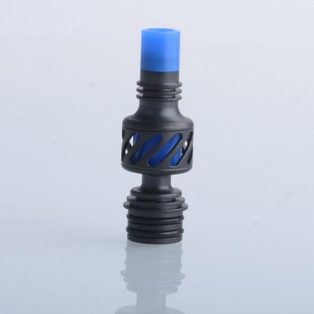 Authentic Auguse Seaman 510 Drip Tip for RDA / RTA / RDTA Vape Atomizer - Black + Blue, Stainless Steel + Delin