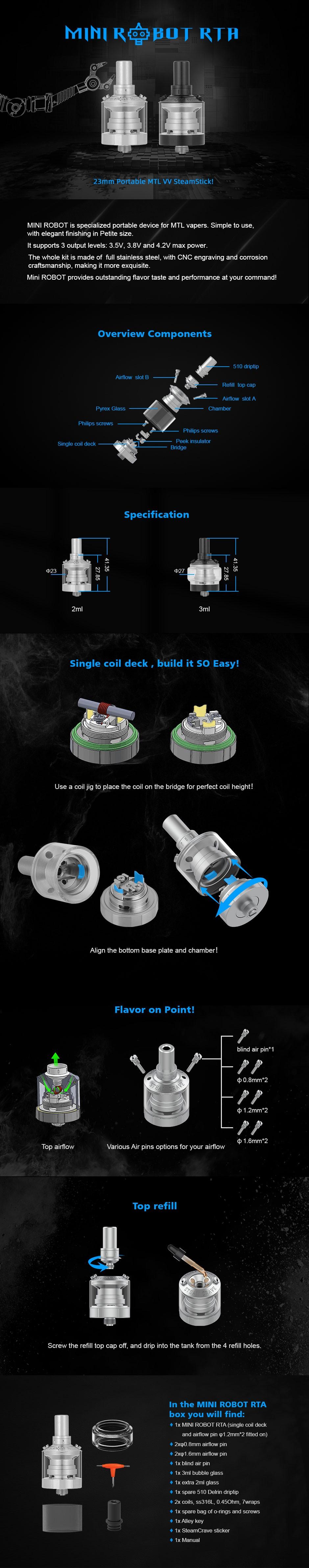 Steam Crave Mini Robot RTA 23mm MTL RTA