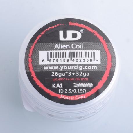 Authentic YouDe UD Pre-built Alien Coil Kit - Kanthal A1, (26GA x 3 + 32GA) (10 PCS)