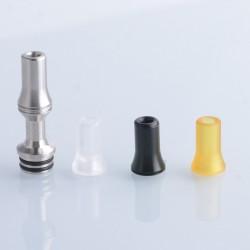 510 Drip Tip w/ Spare Mouthpieces for RDA / RTA / RDTA Vape Atomizer - Silver, Stainless Steel + PEI + POM + PC