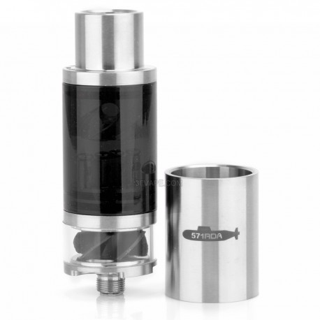 571 Style RDA Rebuildable Dripping Atomizer - Translucent Black, Stainless Steel + Glass, 22mm Diameter
