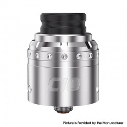 Authentic Blitz CIO RDA Rebuildable Dripping Vape Atomizer - Silver, Stainless Steel, 25mm Diameter