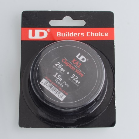Authentic UD Clapton Wire for RBA Vape Atomizer - 26GA + 32GA, Kanthal A1, 15ft (5m)