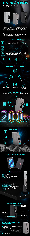 Steam Crave Hadron Plus DNA250C 200W TC VW Vape Box Mod