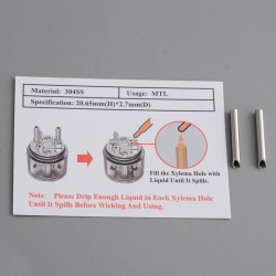 Authentic Ambition Mods Ripley MTL / RDL RDTA Vape Atomizer Replacement Stainless Steel Wicks - (2 PCS)