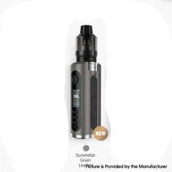 Authentic Lost Vape Grus V2 100W Box Mod Kit with UB Pro Pod - Gunmetal / Grain Leather, 5~100W, 1 x 18650 / 20700 / 21700, 5ml
