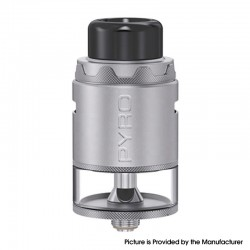 Authentic Vandy Vape Pyro V4 IV RDTA Rebuildable Dripping Tank Vape Atomizer - Frosted Grey, 5ml, SS + Glass, 25.5mm Diameter
