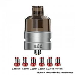 Authentic Uwell Aeglos Empty Tank Pod Cartridge Vape Atomizer w/ 510 Adapter Base + 6 Coils - Silver, 4.5ml, 26.5mm