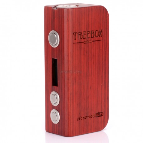 Authentic SmokTech Treebox Temperature Control VW Variable Wattage Box Mod - Red Brown, Zebrawood, 1~75W, 1 x 18650