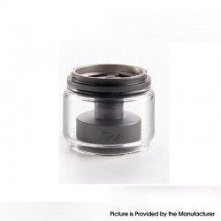 Authentic Yachtvape x Mike Vapes Eclipse RTA Replacement Extension Kit - Gun Metal + Transparent, SS + Glass, (3.5ml / 5ml)