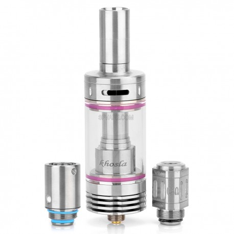 Authentic Yiloong Khosla Triple Coil Sub Tank - Silver, Stainless Steel + Glass, 3.5mL, 22mm Diameter