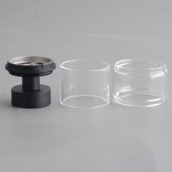 Authentic Yachtvape x Mike Vapes Eclipse RTA Replacement Extension Kit - Black + Transparent, SS + Glass, (3.5ml / 5ml)