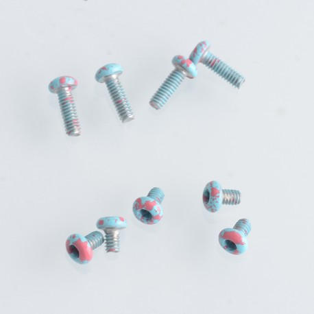 Replacement Screw Set Kit for Billet / SXK BB 70W / DNA 60W Style Box Mod Kit - Tiffany Blue + Red, Stainless Steel (9 PCS)