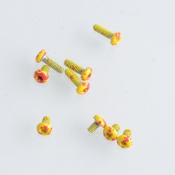Replacement Screw Set Kit for Billet / SXK BB 70W / DNA 60W Style Box Mod Kit - Yellow + Red, Stainless Steel (9 PCS)