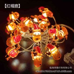 Warm Light LED String Light Lamp Christmas Tree Decoration - Red Hat Deer, 3 x AA, 20-LED, Copper Wire, 2 Meters