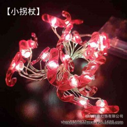 Warm Light LED String Light Lamp Christmas Tree Decoration - Walking Stick, 3 x AA, 20-LED, Copper Wire, 2 Meters, Fash Light