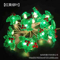 Warm Light LED String Light Lamp Christmas Tree Decoration - Red Fruit Green Leaf, 3 x AA, 20-LED, Copper Wire, 2M, Fash Light