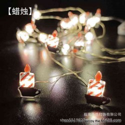 Warm Light LED String Light Lamp Christmas Tree Decoration - Candle, 3 x AA, 20-LED, Copper Wire, 2 Meters, Fash Light