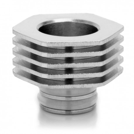 Hexagonal Heat Insulation Base for 510 Drip Tip - Silver, Aluminum