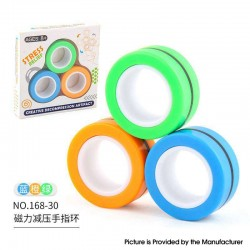 Anti-Stress Decompression Extender Magnetic Ring Swivel Ring Stress Relief Toy - Blue Orange Green 35g, (3 PCS)