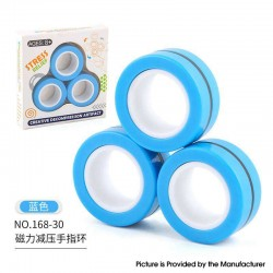 Anti-Stress Decompression Extender Magnetic Ring Swivel Ring Stress Relief Toy - Blue, (3 PCS)