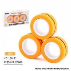 Anti-Stress Decompression Extender Magnetic Ring Swivel Ring Stress Relief Toy - Orange 36.2g, (3 PCS)