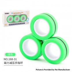 Anti-Stress Decompression Extender Magnetic Ring Swivel Ring Stress Relief Toy - Green 36.2g, (3 PCS)