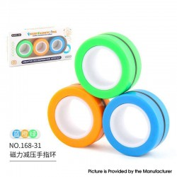 Anti-Stress Decompression Extender Magnetic Ring Swivel Ring Stress Relief Toy - Blue Orange Green 36.2g, (3 PCS)