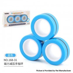 Anti-Stress Decompression Extender Magnetic Ring Swivel Ring Stress Relief Toy - Blue 36.2g, (3 PCS)