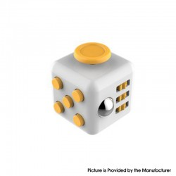 Decompression Magic Block Toy Adult Infant Infinite Finger Dice Cube - White + Yellow
