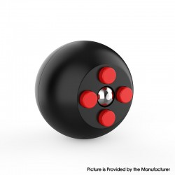 Decompression Button Ball Round Cube Hand Stand Handheld Games Educational Novelty Toy - Black + Red