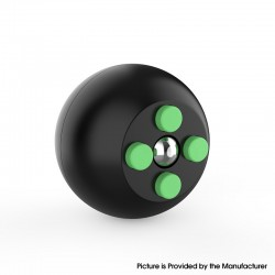Decompression Button Ball Round Cube Hand Stand Handheld Games Educational Novelty Toy - Black + Green