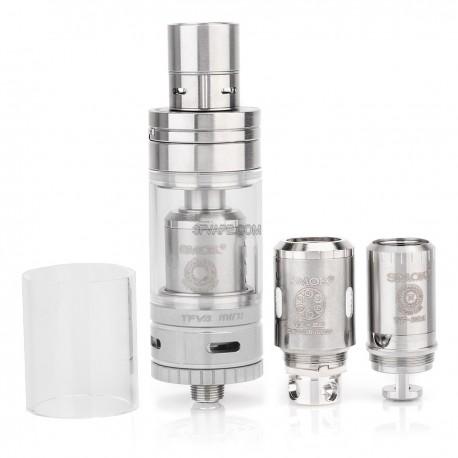 Authentic SMOKTech TFV4 Mini Sub Ohm Tank Full Kit - Silver, Stainless Steel + Pyrex Glass, 3.5mL, 22mm Diameter