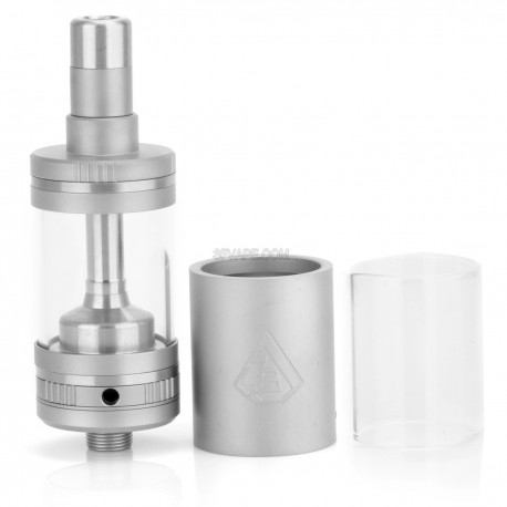 GEM Style RTA Rebuildable Tank Atomizer - Silver, Stainless Steel + Glass, 5.0mL, 22mm Diameter