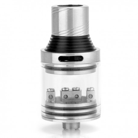 Super Hero Style RDA Rebuildable Dripping Atomizer - Silver + Transparent, Stainless Steel + Glass, 22mm Diameter