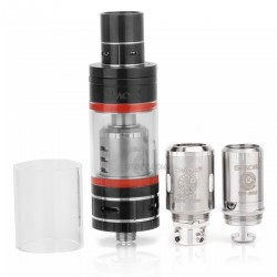 Authentic SMOKTech TFV4 Mini Sub Ohm Tank Full Kit - Black, Stainless Steel + Pyrex Glass, 3.5mL, 22mm Diameter