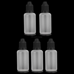 Empty Dropper Bottles w/ Long Tip for E-liquid - Black + Translucent, 30mL, PE, (5 PCS)