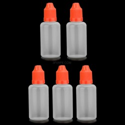 Empty Dropper Bottles w/ Long Tip for E-liquid - Orange + Translucent, 30mL, PE, (5 PCS)